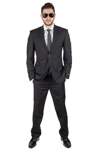 Slim Fit 2 Button Notch Lapel Flat Front Pants Business Black Suit By AZAR MAN