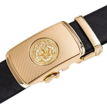 Load image into Gallery viewer, USA Mens Genuine Leather Belts Gold Tiger Buckle Dress Ratchet Waist Straps