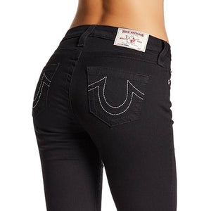 True Religion Women's Curvy Skinny Fit Stretch Jeans in Black Body Rinse