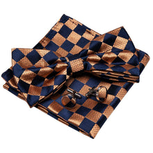 Load image into Gallery viewer, Mens Ties Pre-tied Bow tie Set Blue Bronze Paisley Silk Formal Barry Wang USA