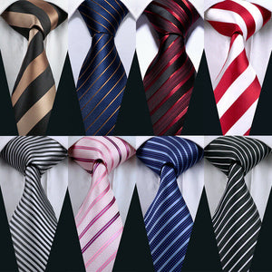 USA Mens Striped Tie Set Silk Red Blue Black Brown Grey Necktie Party Wedding