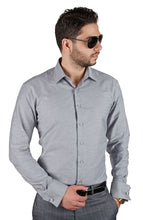 Load image into Gallery viewer, Tailored / Slim Fit Mens French Cuff Grey Dress Shirt Wrinkle-Free By AZAR MAN