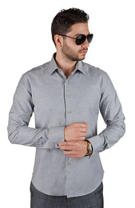 Tailored / Slim Fit Mens French Cuff Grey Dress Shirt Wrinkle-Free By AZAR MAN