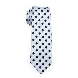 USA Mens Tie Set Black White Polka Dot Silk Necktie Hanky Cufflinks Wedding Gift
