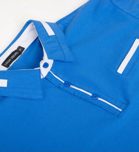 Load image into Gallery viewer, New Mens Short Sleeve Polo Shirt Slim Fit Stretch Blue White Accents Pocket