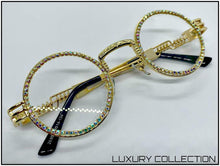 Load image into Gallery viewer, CLASSY ELEGANT Clear Lens EYE GLASSES Round Gold Luxury Fashion Frame Handmade!