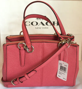 COACH MINI CHRISTIE CARRYALL IN CROSSGRAIN LEATHER F57523 SV/Strawberry NWT