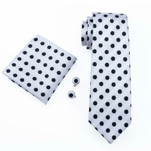 Load image into Gallery viewer, USA Mens Tie Set Black White Polka Dot Silk Necktie Hanky Cufflinks Wedding Gift