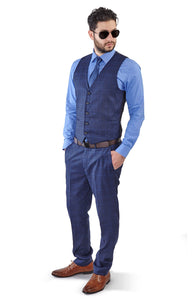 Slim Fit 2 Button Vest Optional Peak lapel Windowpane Plaid Suit Azar Blue 1698