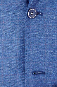 Imperial Blue Slim Fit Men Suit Chambray Plaid 2 Button Notch Collar BY AZAR MAN