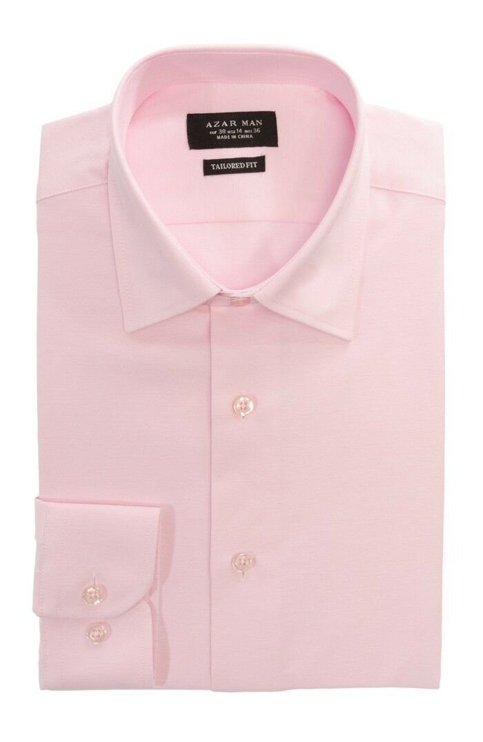 Tailored / Slim Fit Mens Pink Dress Shirt Wrinkle-Free Spread Collar AZAR MAN