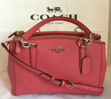 Load image into Gallery viewer, COACH MINI CHRISTIE CARRYALL IN CROSSGRAIN LEATHER F57523 SV/Strawberry NWT