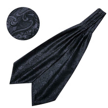 Load image into Gallery viewer, Mens Ascot Cravat Paisley Silk Black Set Wedding Formal Bussiness USA
