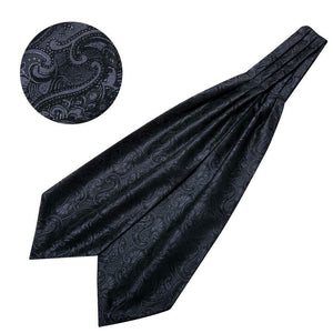 Mens Ascot Cravat Paisley Silk Black Set Wedding Formal Bussiness USA