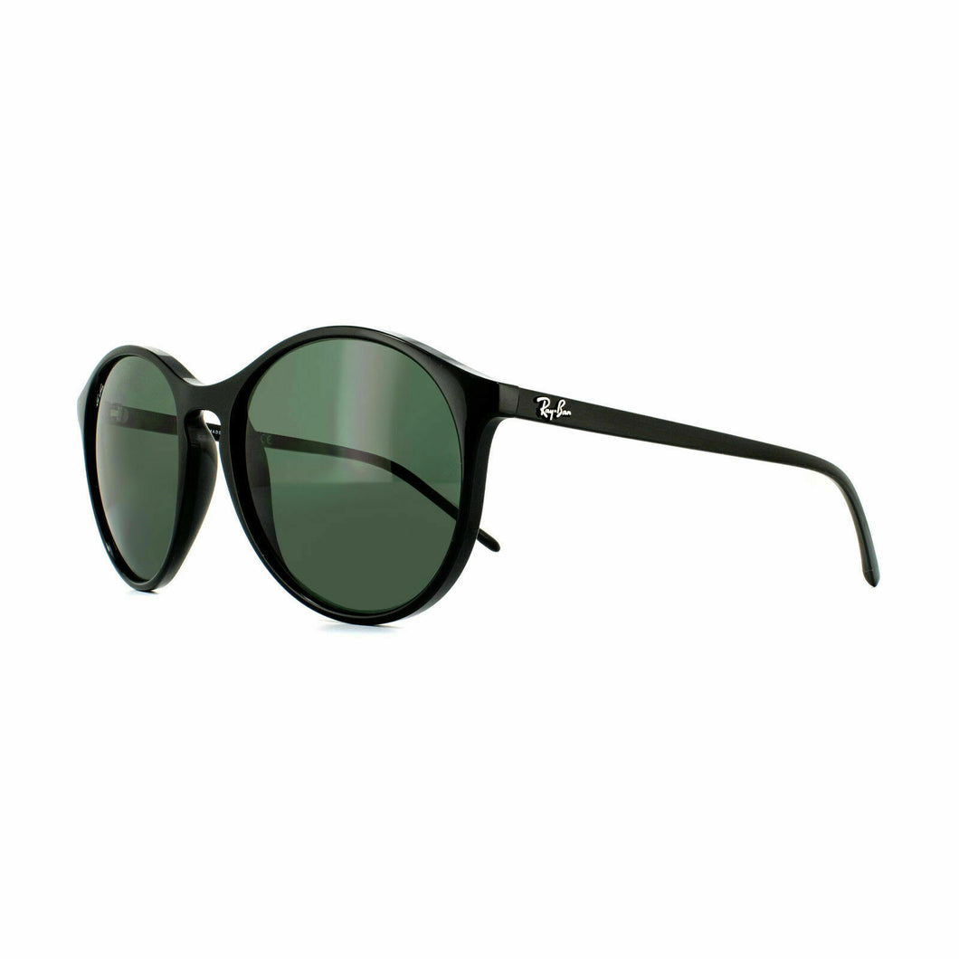 Ray Ban Round Sunglasses RB4371 601/71 55 Black Frame Green Lens