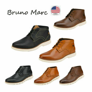 Bruno Marc Men's Casual Dress Chukka Genuine Leather Lace-Up Oxford Ankle Boots