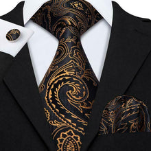 Load image into Gallery viewer, USA Mens Black Gold Paisley Tie Set Silk Necktie Pocket Square Cufflinks Party