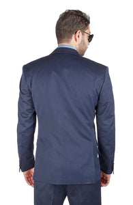 Slim Fit Suit 3 Piece Vested 2 Button Solid Navy Blue Notch Lapel By AZAR MAN