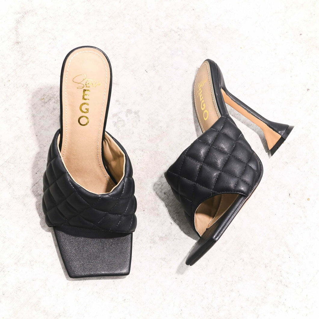 LuxeModa Butter Black Quilted Square Peep Toe Pyramid Heel Mule Pumps