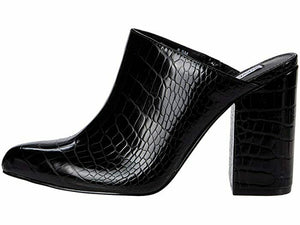 Steve Madden Women's DITTY Slip On Block Heel Sandal BLACK CROC