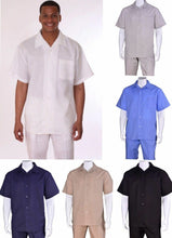 Load image into Gallery viewer, Men's 2pc Casual Walking Suit Luxury Linen Short Sleeve Shirt w/ Pants Set L2806