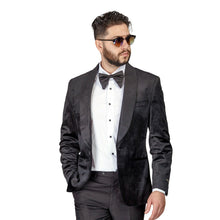 Load image into Gallery viewer, Mens Black Velvet Tuxedo Blazer Jacket Shawl Lapel 1 Button Slim Fit AZAR MAN
