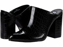 Load image into Gallery viewer, Steve Madden Women's DITTY Slip On Block Heel Sandal BLACK CROC