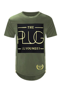 NEW Men The Plug ALL YOU NEED 3D Graphic Gold Foil Shirt Side Zipper SIZES S-3XL