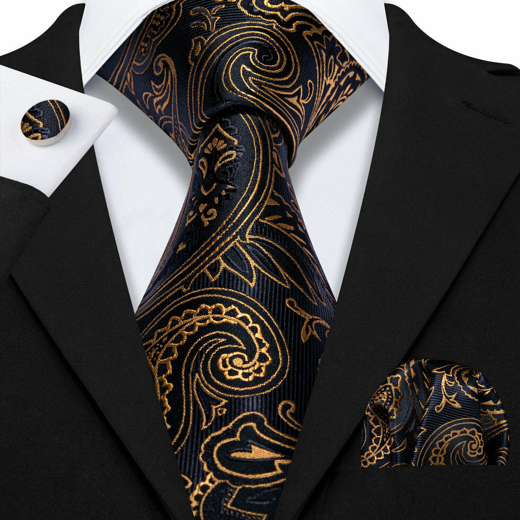 USA Mens Black Gold Paisley Tie Set Silk Necktie Pocket Square Cufflinks Party