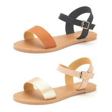 Load image into Gallery viewer, DREAM PAIRS Women's Cute Open Toes Ankle Strap Flexible Summer Flat Sandals New