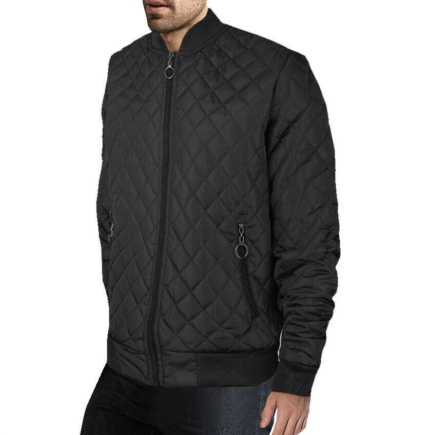 Men's Ring Zipper Stylish Quilted Water Resistant Slim Fit Bomber Jacket JASON