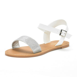 DREAM PAIRS Women's Cute Open Toes Ankle Strap Flexible Summer Flat Sandals New