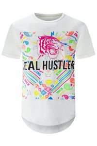 NEW Men Real Hustlers Tee Tiger Print Colorful Diamonds Gems Stripes Shortsleeve