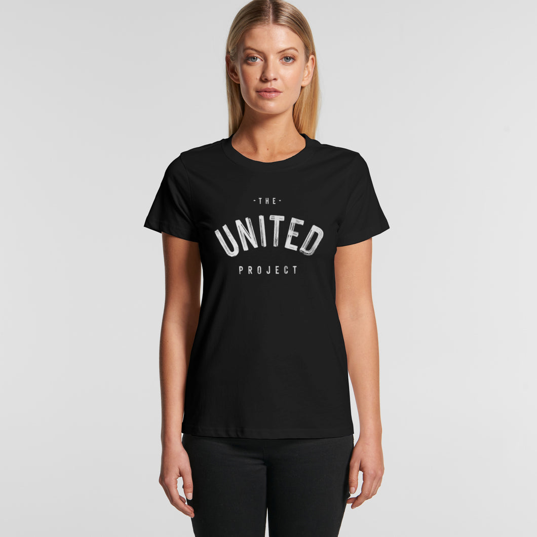 King Classic Tee Female Blk (front) - The United Project