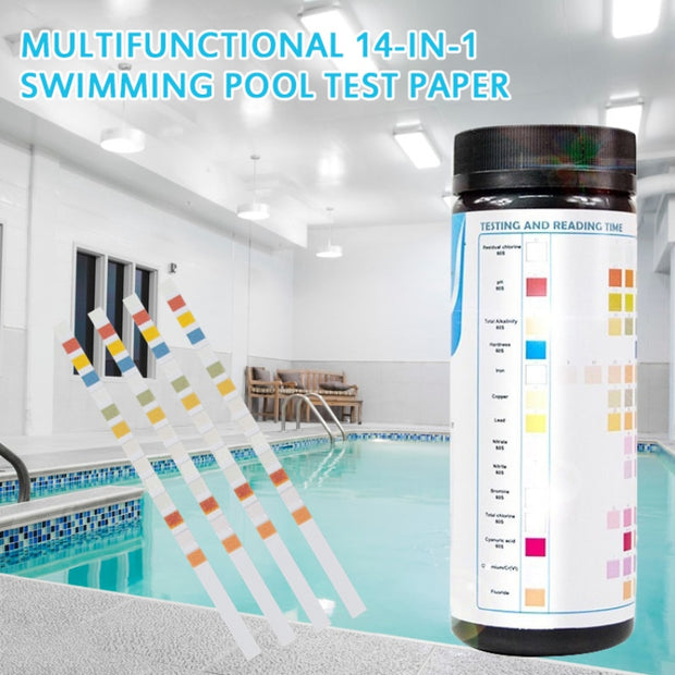 50PCS 14-in-1 Swimming Pool Test Paper