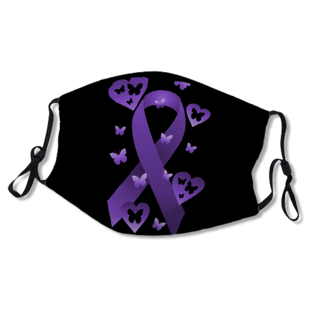 Purple Awareness Ribbon with hearts & Butterflies Cloth NO. 3DQFJM