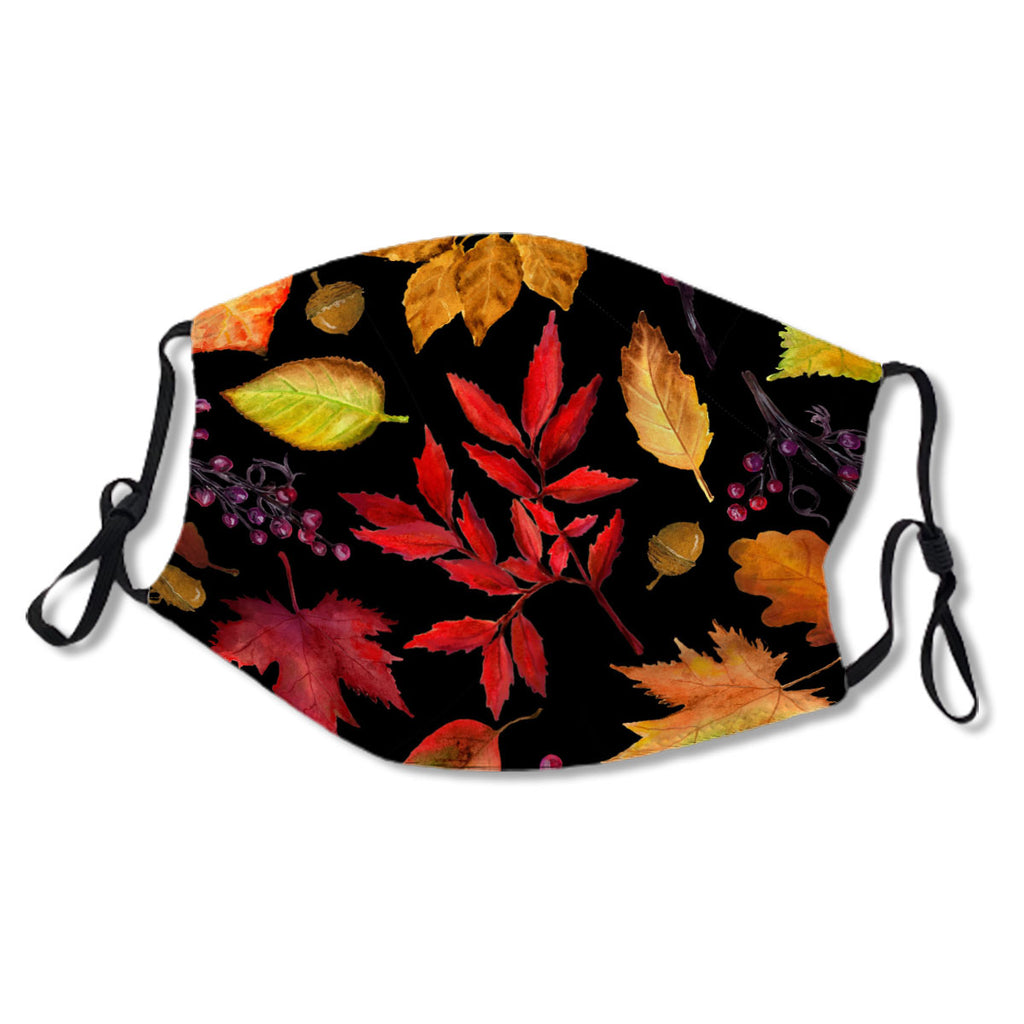 Vibrant Fall Leaves Pattern Black Multi No. 3T3A2J