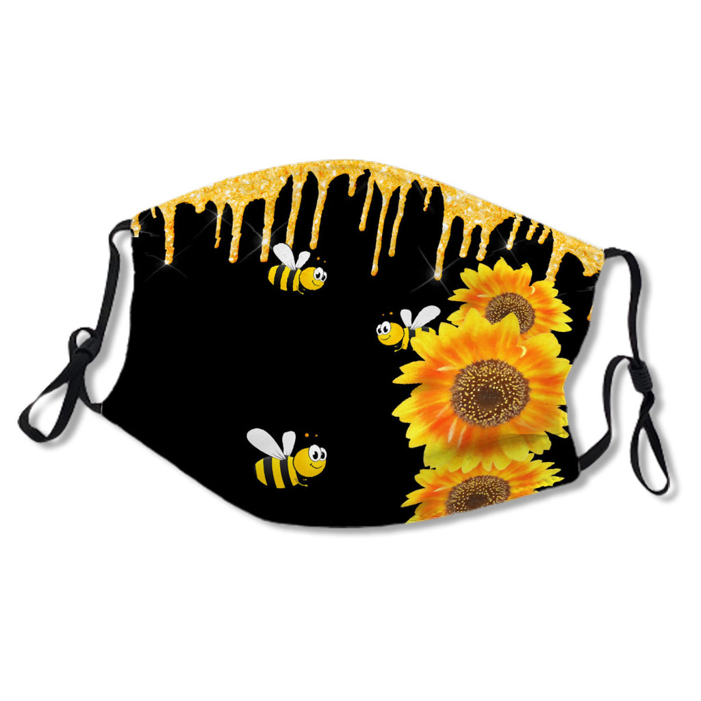Happy Bees Drips Sunflowers Floral Black No. QNZ7SC