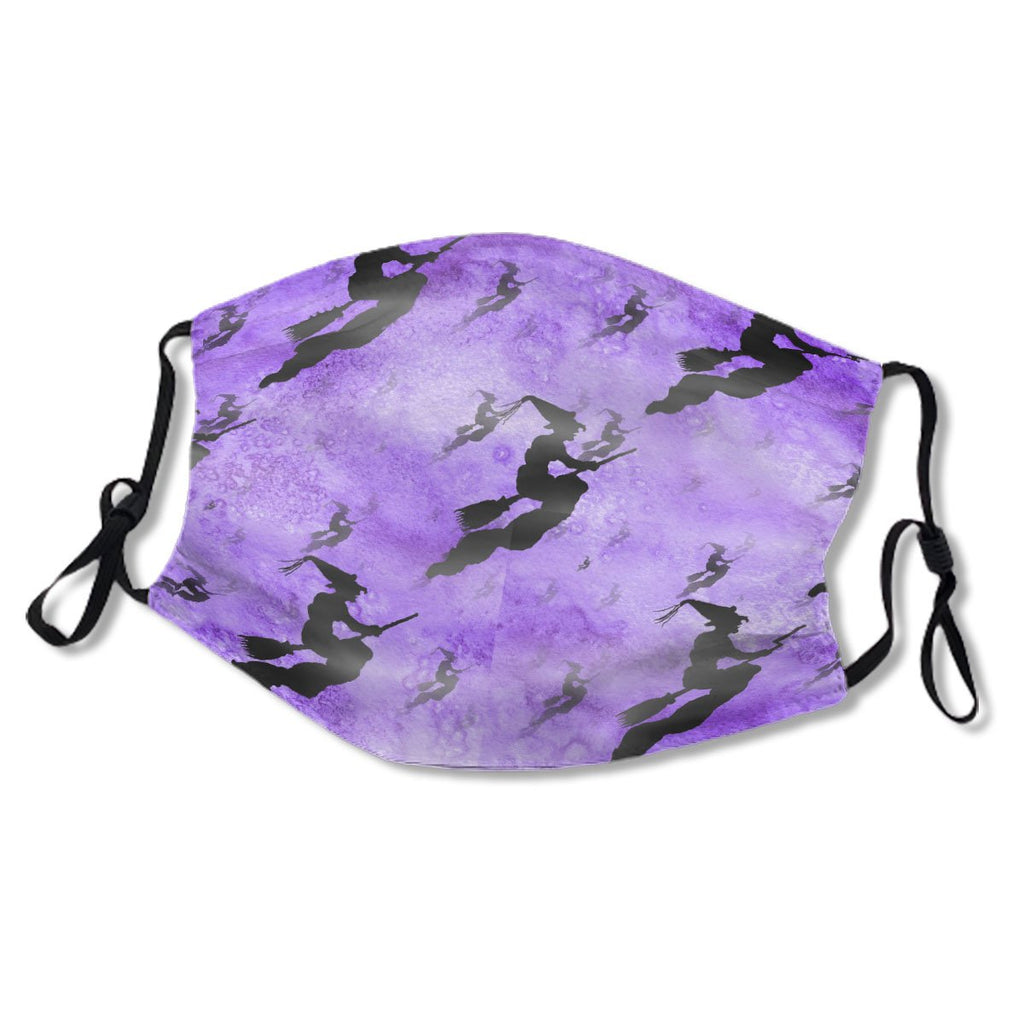 Halloween Black Scattered Witch Pattern Purpe Bg No. UIL8AO