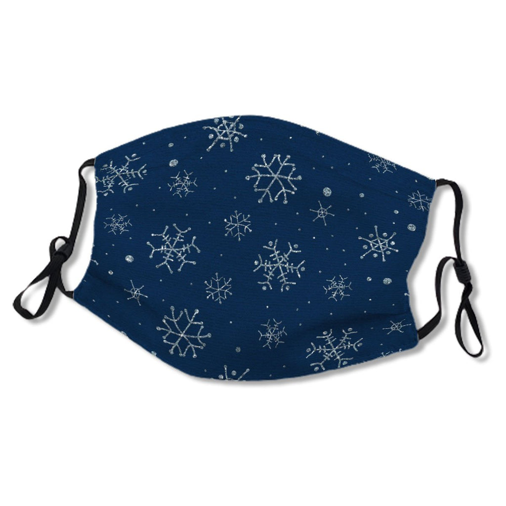 White Snowflakes on Navy Blue Winter No.YNVHH7