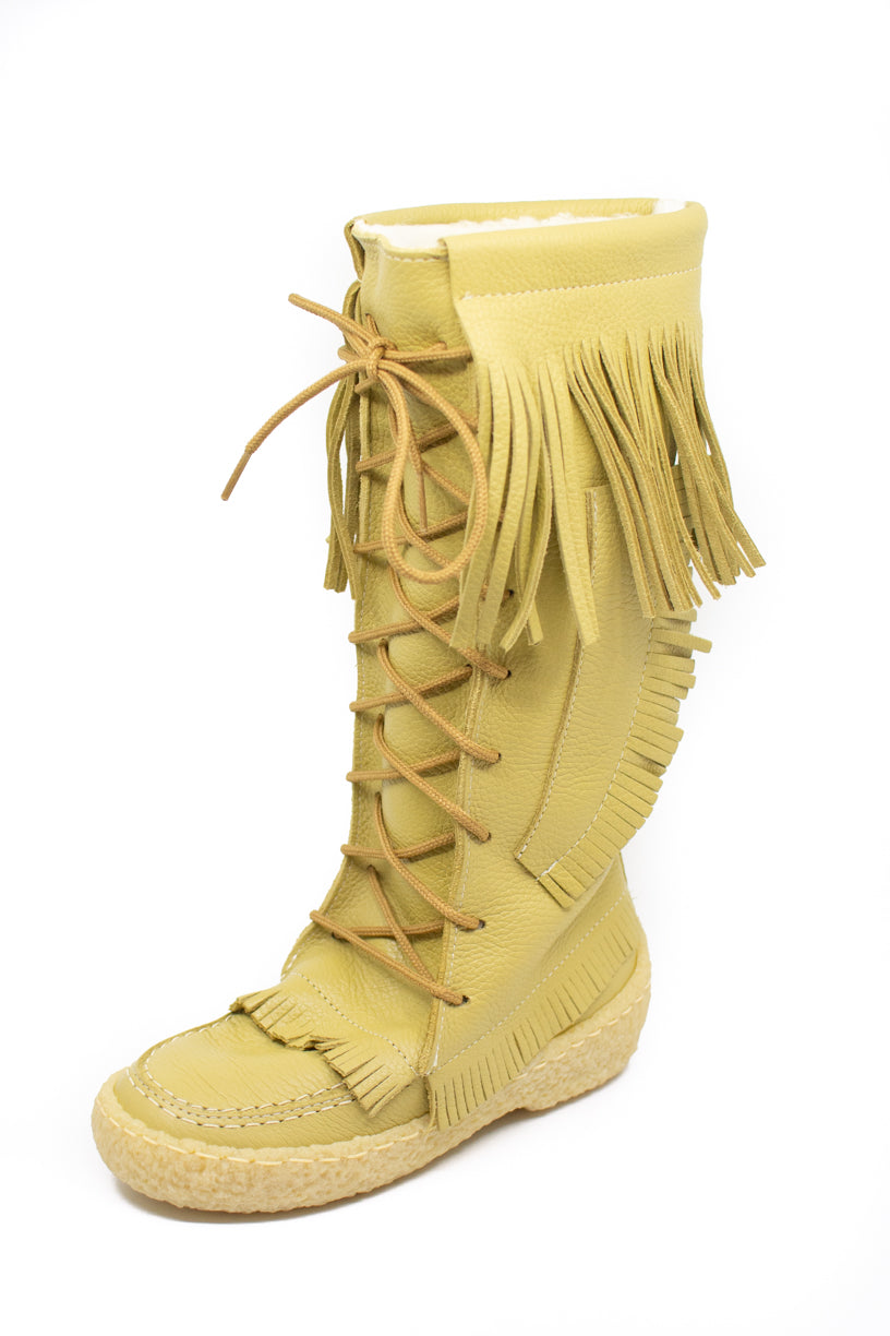 Women's Barbo Fringe Deerskin Boots - Deer Cream