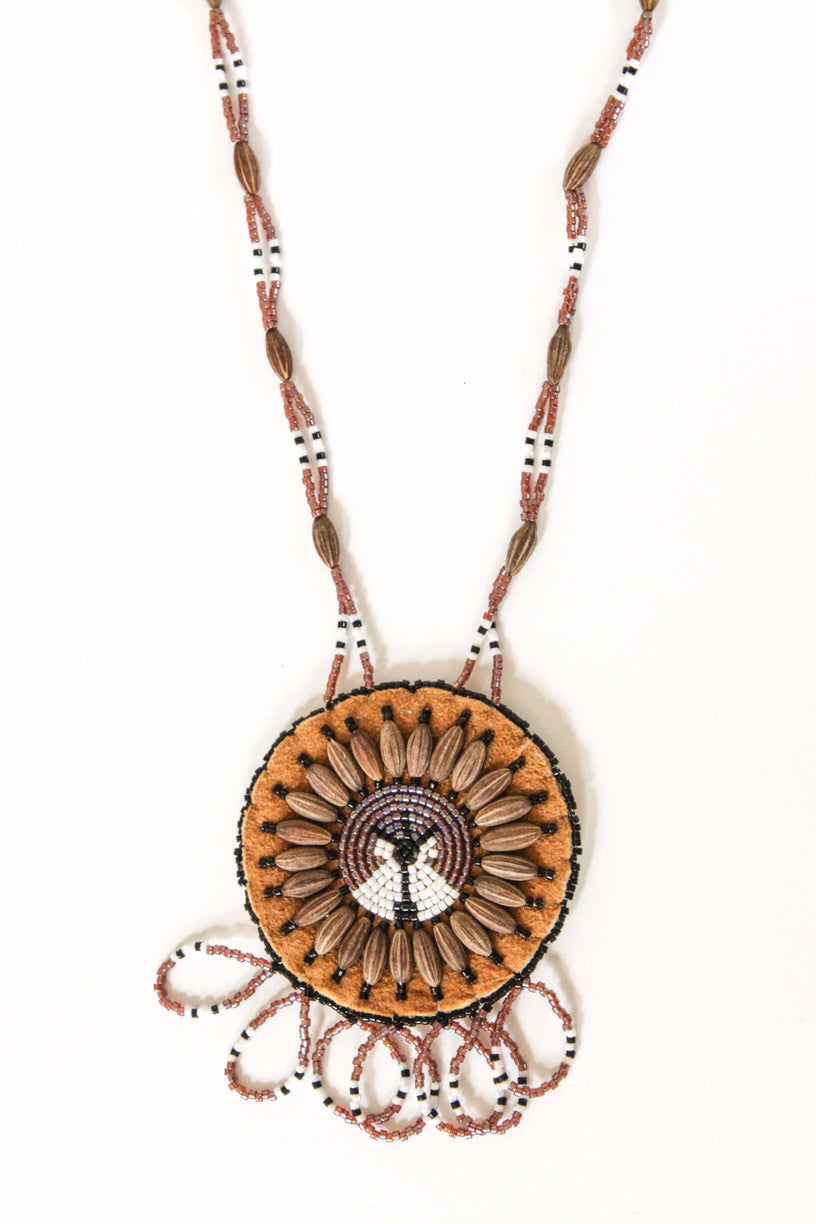Beaded Lodge & Wolf Willow Seed Necklace