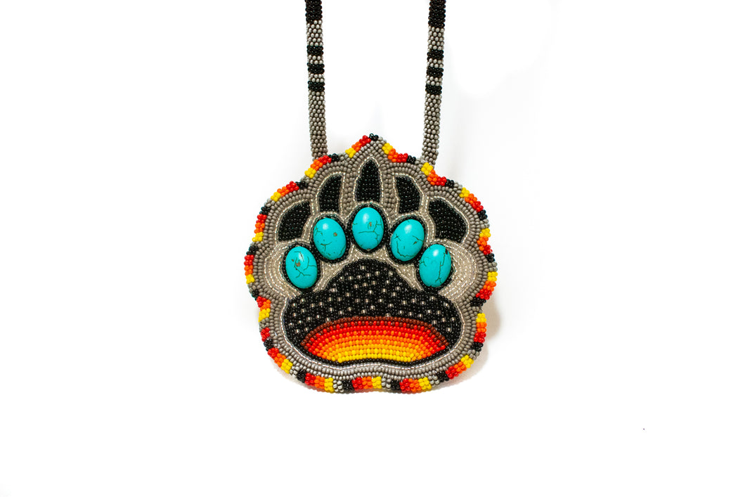 Blackfoot Beaded Bear Paw Necklace