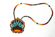 Load image into Gallery viewer, Blackfoot Beaded Bear Paw Necklace