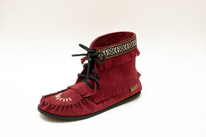"Beaded ""Concho"" Suede Ankle High Boot with Black Sole"
