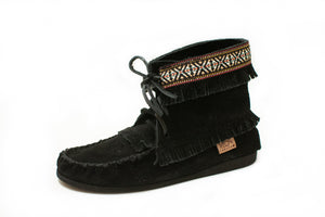 """Concho"" Suede Ankle High Boot with Black Sole"