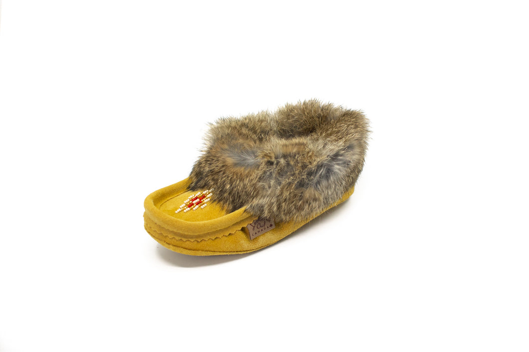 Youth's Laurentian Chief Rabbit Fur Beaded Moccasins