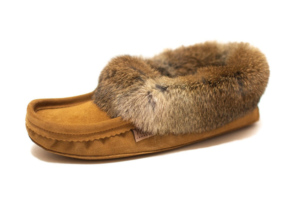 Men's Laurentian Chief Suede Slippers with Rabbit Fur Trim