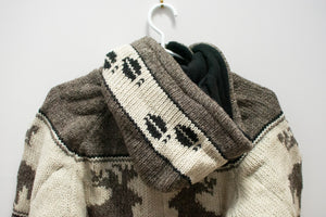 Hand-Knitted Moose Sweater with Hood
