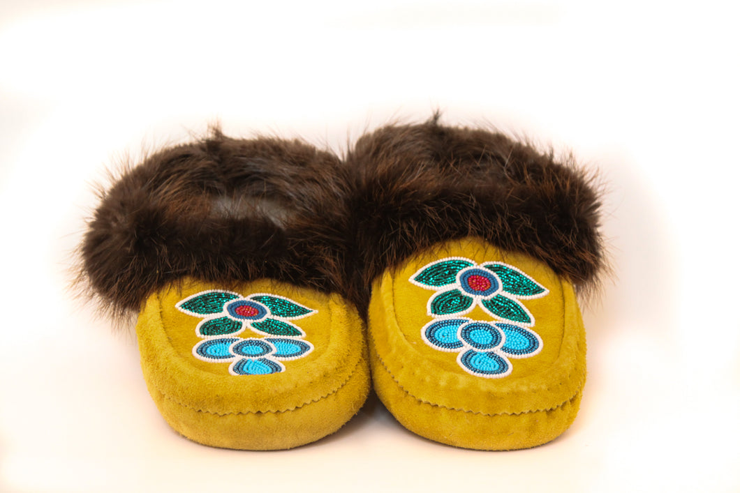 Men's Beaded Suede Moccasins with Beaver Fur Trim